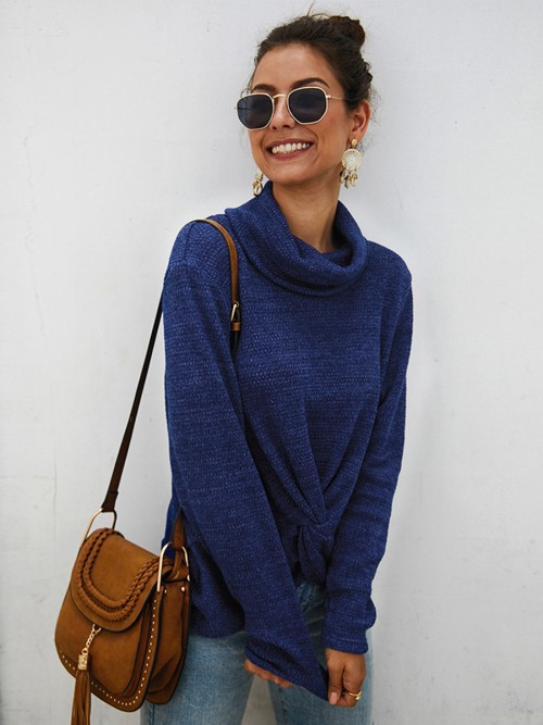 Splicing Blue Sweater High Collar Curved Hem Fashion Design