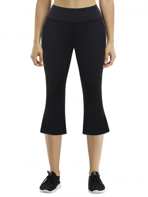 Awesome Black High Rise Keen-Length Yoga Pants Feminine Grace
