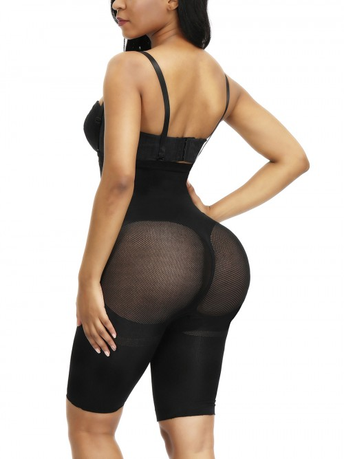 Figure Shaper Black Full Body Shaper Mesh Straps Seamless Super Faddish