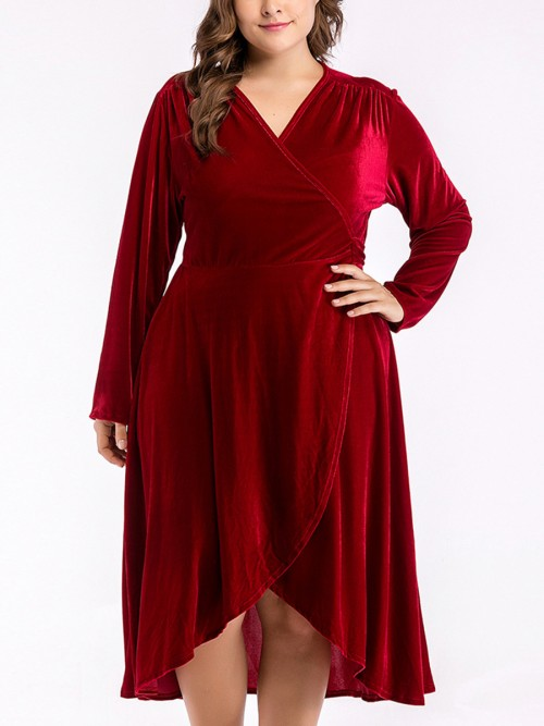 Fresh Wine Red Plus Size Dress High-Low Hem Tie Women Forward