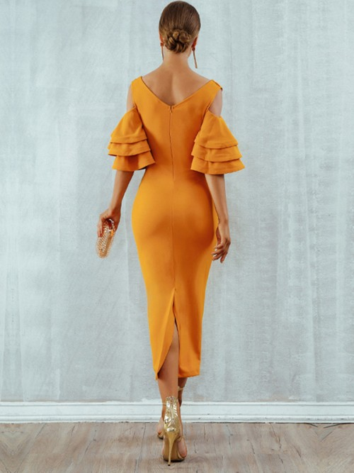 Yellow Back Zipper Bandage Dress Deep V Neck All-Match Style