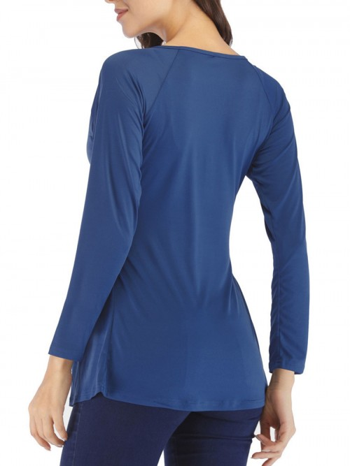 Lovely Blue Shirt Twist Front Ruched Long Sleeve Latest Trends