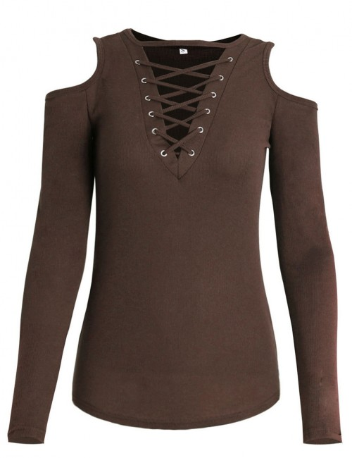 Amazing Brown Long Sleeve Solid Color Shirt Lace Up For Every Occasion