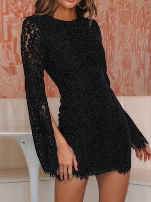 Alluring Black Lace Mini Dress Round Collar Slit For Traveling