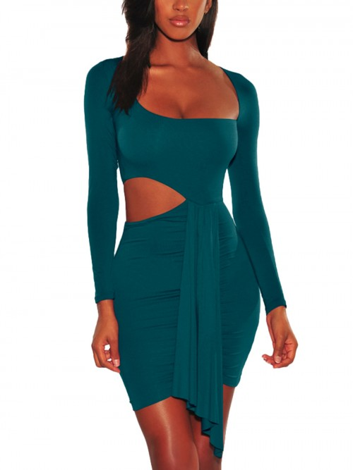 Flowing Dark Green Tie Trim Bodycon Dress Hollow Out Soft