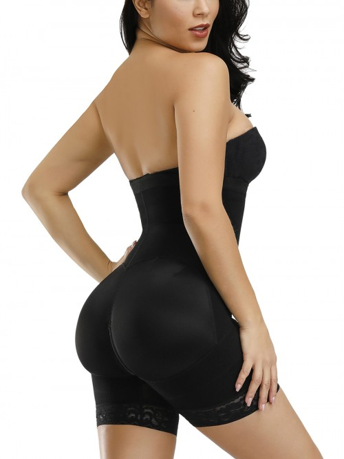 Black Detachable Straps Full Body Shaper Zipper Abdominal Control