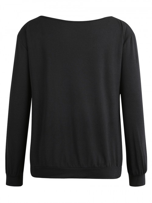 Lovely Black Round Collar Sweatshirt Long Sleeve Online Fashion