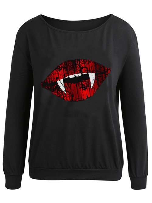 Black Mouth Pattern Full Sleeve Sweatshirt Womens Trendy Clothes