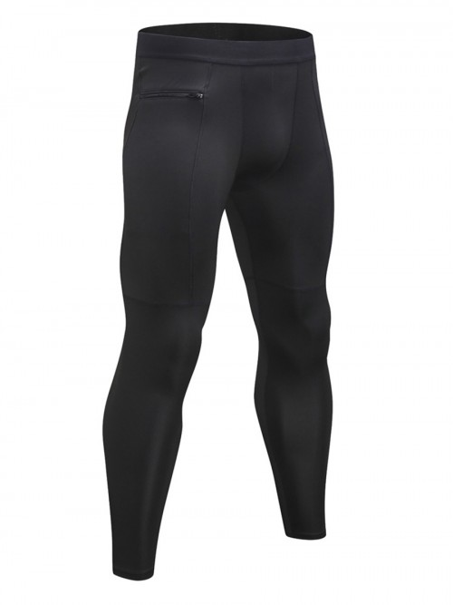 Appealing Black High Rise Full Length Men's Leggings Handsome