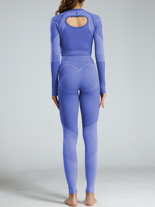 Large Bust Blue Hollow Out Sports Suits Full Length Lightweight