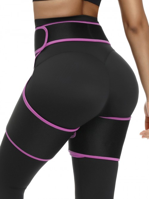 Rose Red Sticker Open Butt Neoprene Thigh Shaper Firm Compression