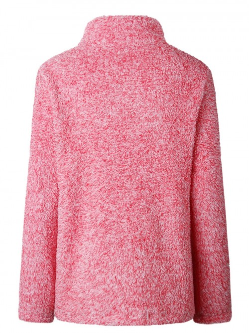 Functional Pink Turndown Neck Plush Sweater Long Sleeve Smooth