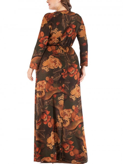 Beautifully Designed Brown Pocket Floral Pattern Large Size Dress