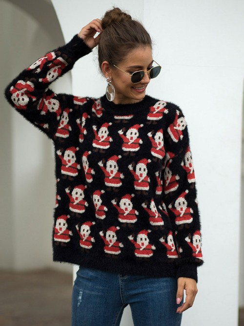 Pleasant Black Santa Claus Pattern Sweater Crew Neck Modern Fashion