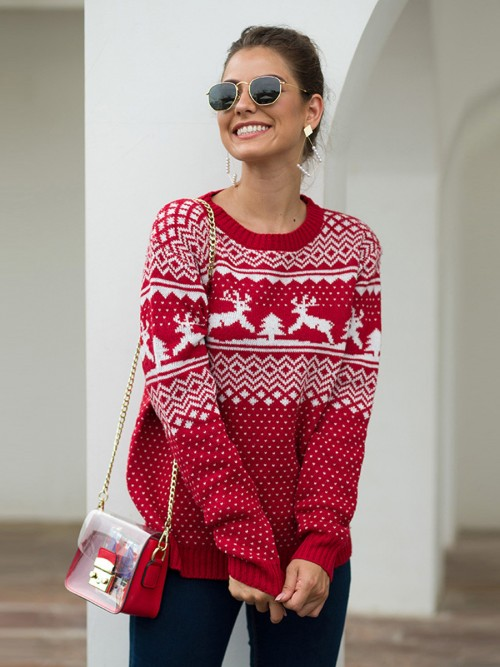 Holiday Red Sweater Crew Neck Geometric Pattern For Vacation