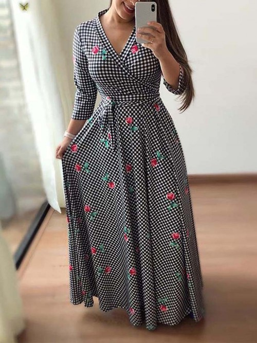 Noticeable 3/4 Sleeves Maxi Dress Large Size Tailored Quality