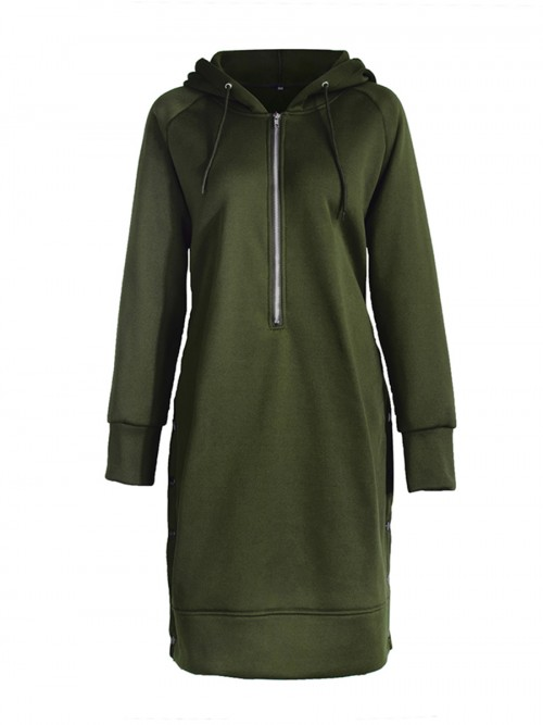 Chic Big Size Drawstring Hooded Midi Dress Women's Essentials