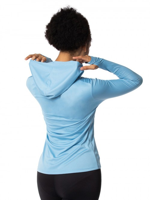 Exquisite Light Blue Thumb Hole Sports Tops With Zipper Fashion