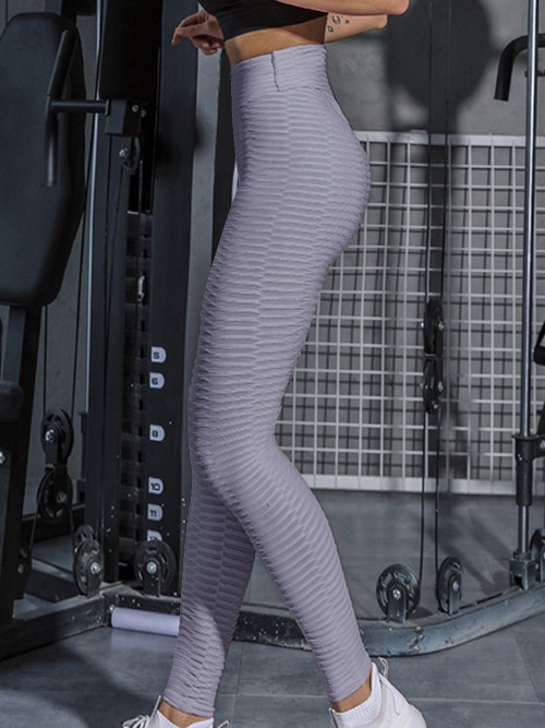 Moving Gray Jacquard Pure Color Sport Leggings Female Grace