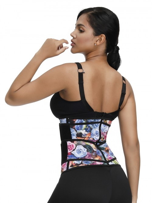 Rose Print Waist Trainer Bodybuilding Double Belts Tummy Slimmer