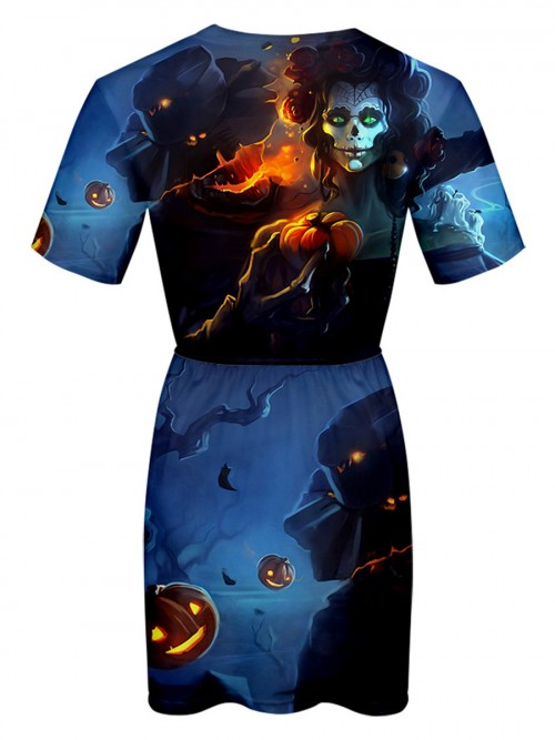 Amazing Halloween Pattern Mini Dress Big Size Female Elegance