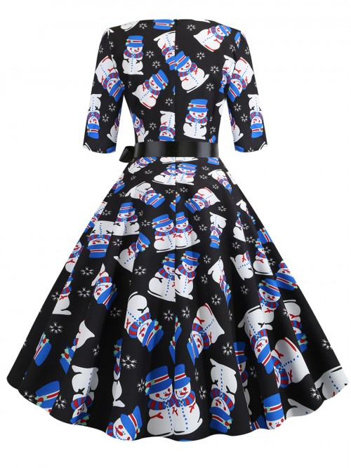 Formal Tie Waist Snowman Print Skater Dress Fashion For Women