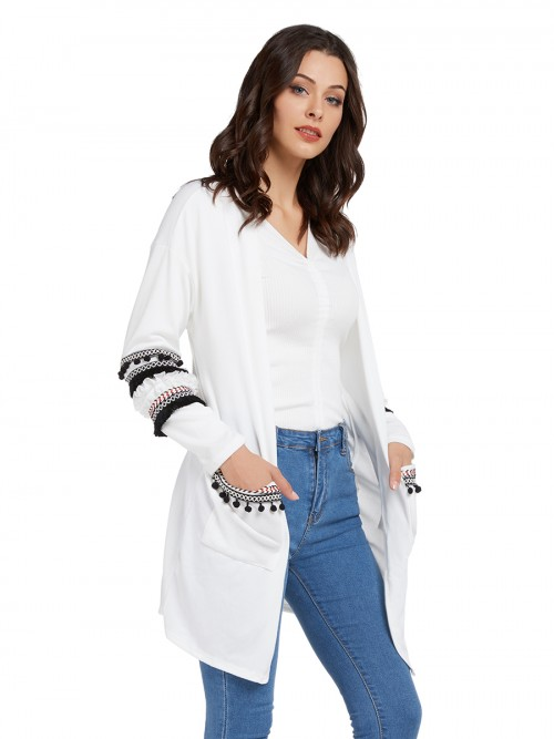 Classy White Long Sleeves Cardigan With Two Pockets Shop Online
