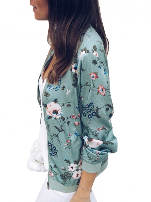 Adorable Green Full Sleeve Jacket Hip-Length Feminine Elegance
