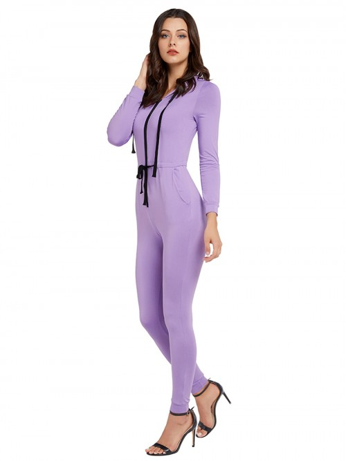 Adorable Purple Jumpsuit Full Sleeve Hooded Neck Feminine Fashion