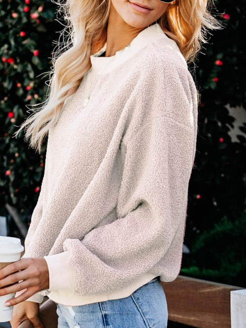Flirting Apricot Solid Color Sweater Bishop Sleeve Female Clothing