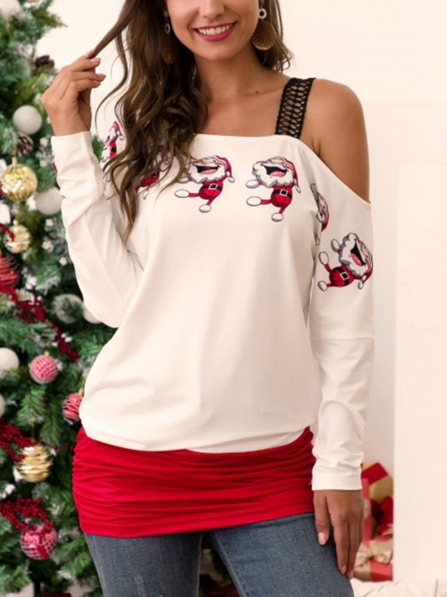 Classy White Xmas Patchwork Long Sleeves Shirt Female Grace