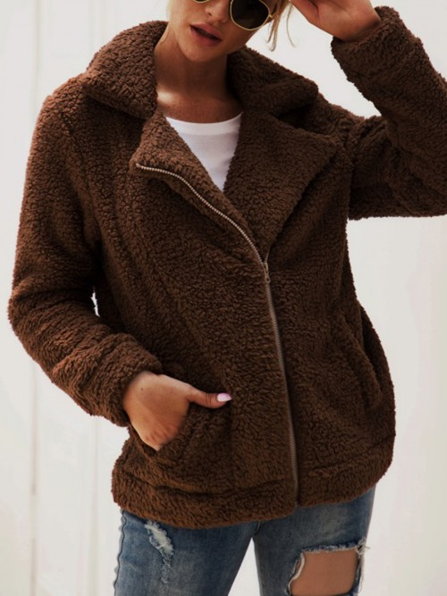 Form-Fitting Brown Zipper Long Sleeves Pocket Plush Jacket Women's Clothing