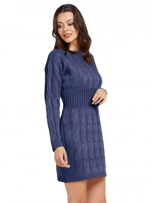 Form-Fitting Navy Blue Mid-Thigh Length Sweater Dress Knit