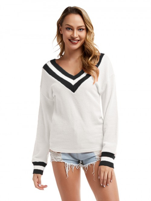 Absorbing White Contrast Color Dull Sleeve Sweater Cheap Online Sale