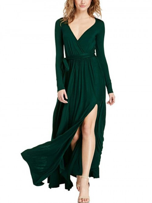 Angel Blackish Green Deep V-Neck Maxi Dress Waist Knot Womens Apparel