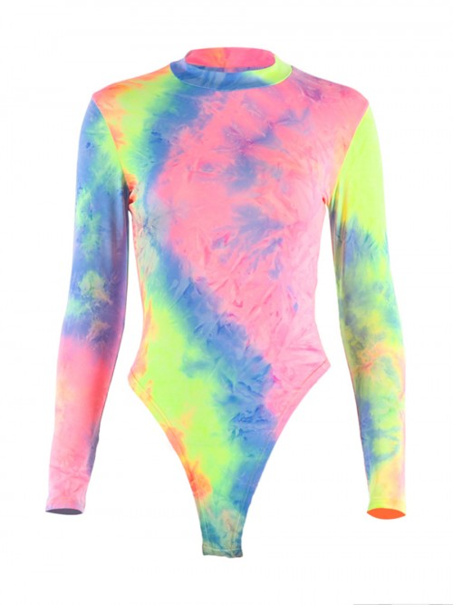 Special Bodysuit Full Sleeve Colorful Mock Neck Home Clothes