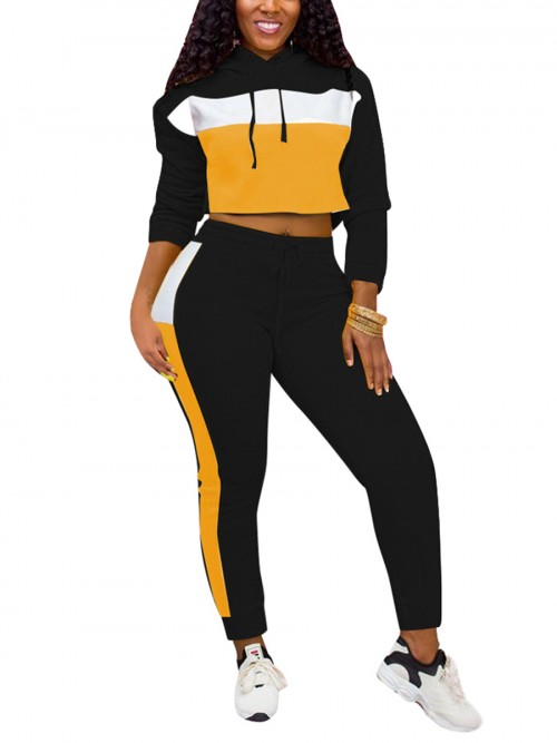 Fashionable Black Sweat Suit Hooded Neck Contrast Color All Over Smooth