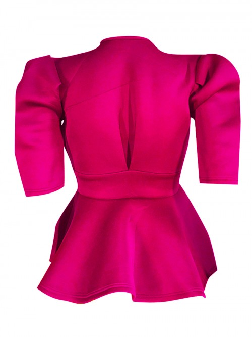 Passionate Rose Red Bow-Knot Shirt Solid Color Leisure Wear