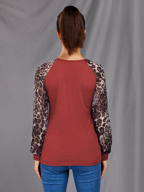 Energetic Crew Neck Leopard Print Shirt Plus Size Smooth