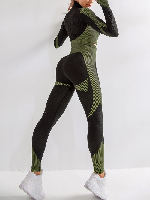 Green Zipper Patchwork Yoga Suit Thumbhole Preventing Sweat