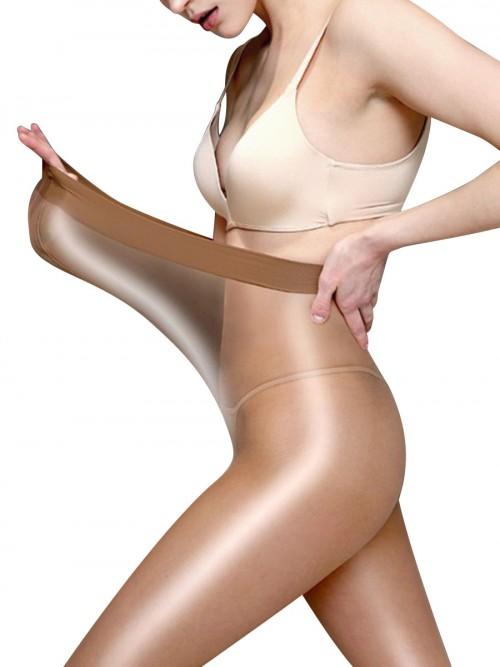 Flossy Brown Elastic Stocking Mesh Perspective Soft Touch