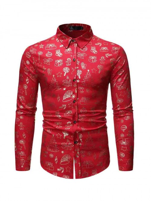 Comfortable Red Full-Sleeved Lapel Neck Mens Shirt Fashion