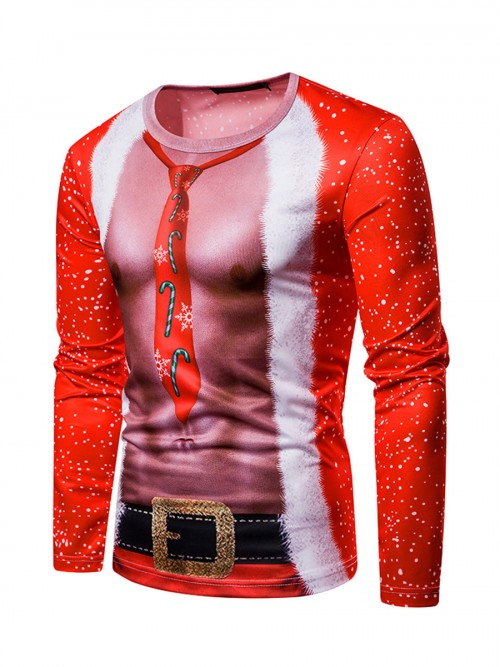 Delightful 3D Christmas Round Collar Male Shirt Ultra Cheap