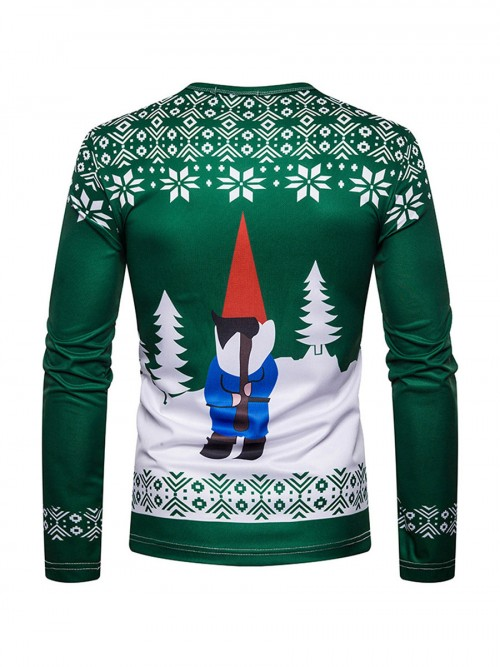 Invigorative Colorblock Long Sleeve Santa Claus Shirt Fashion Design