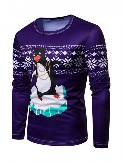 Gorgeously Round Neck Penguin Print Christmas Top For Holiday