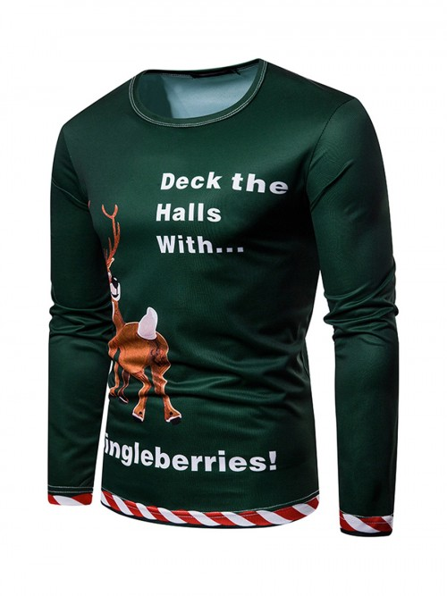 Tailored Deer Letter Printing Mens Top Xmas Nice Quality