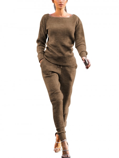 Brilliant Khaki Wide Hem Top Full Length Pants Elastic Material