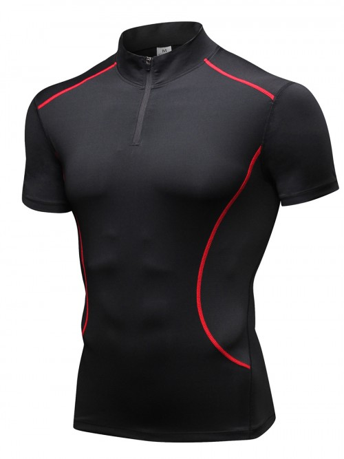 Body Sculpting Red Short Sleeve Mesh Running Top Running Outfits