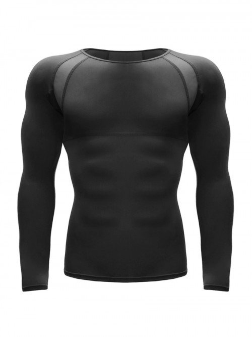 Enviable Black Long Sleeve Sports Top Patchwork Mesh Cool Fashion