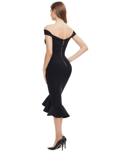 Catching Black Off Shoulder Mermaid Prom Dresses Preventing Sweat